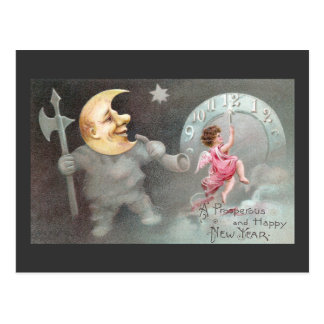 The Man in the Moon Vintage New Year's Day Postcard