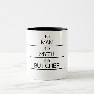 The Man The Myth The Butcher Two-Tone Coffee Mug