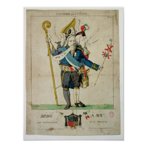 The Man with Six Heads', caricature of Charles Print