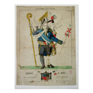 The Man with Six Heads caricature of Charles Print