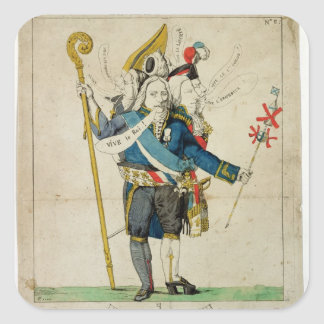 The Man with Six Heads', caricature of Charles Square Sticker
