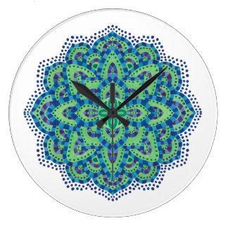 The Mandala-Cool Emerald Large Clock
