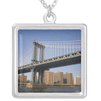 The Manhattan Bridge spanning the East River 2 Silver Plated Necklace