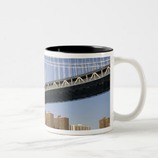 The Manhattan Bridge spanning the East River 2 Two-Tone Coffee Mug
