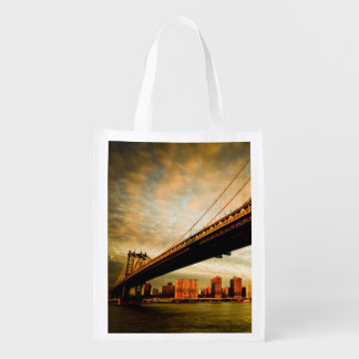 The Manhattan bridge view from Brooklyn side (NYC) Reusable Grocery Bag