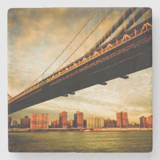 The Manhattan bridge view from Brooklyn side (NYC) Stone Beverage Coaster