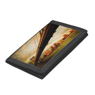 The Manhattan bridge view from Brooklyn side (NYC) Tri-fold Wallets
