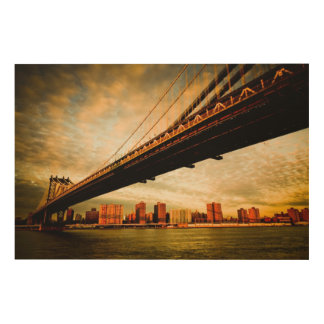 The Manhattan bridge view from Brooklyn side (NYC) Wood Print