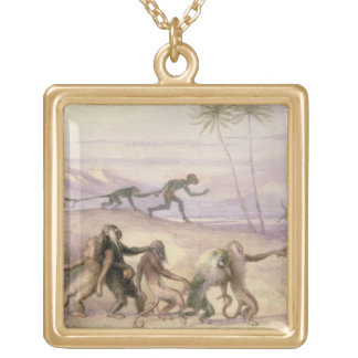 The Manners and Customs of Monkeys Gold Plated Necklace