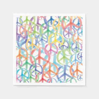 The Many Colors of Peace Signs Disposable Serviette