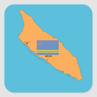The Map and Flag of Aruba Square Sticker