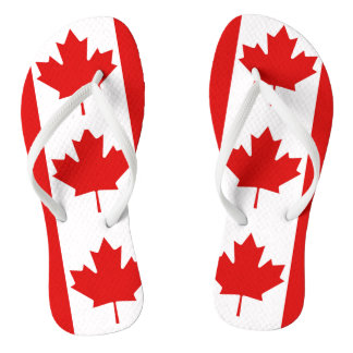 The Maple Leaf flag of Canada Flip Flops