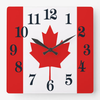 The Maple Leaf flag of Canada Square Wall Clock