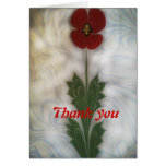 The marbling of art poppy  thank you Card