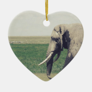 The March of a Elephant Ceramic Heart Decoration