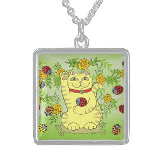 The Marigolds Are Lucky Today! Square Pendant Necklace