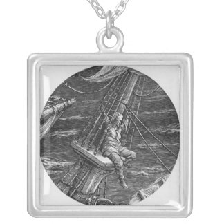 The Mariner aloft in the poop of the ship Silver Plated Necklace
