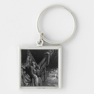 The Mariner gazes on the serpents in the ocean Silver-Colored Square Key Ring