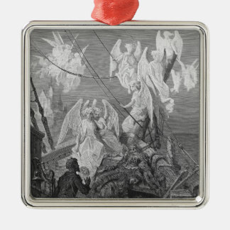 The mariner sees the band of angelic spirits Silver-Colored square decoration