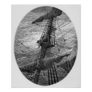 The Mariner up the mast during a storm Poster