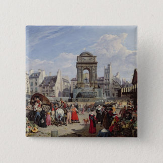 The Market and Fountain of the Innocents 15 Cm Square Badge