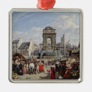 The Market and Fountain of the Innocents Silver-Colored Square Decoration