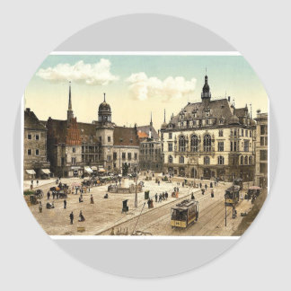 The market place and side of Hotel de Ville, Halle Sticker