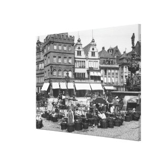 The Market Place at Trier, c.1910 Canvas Print