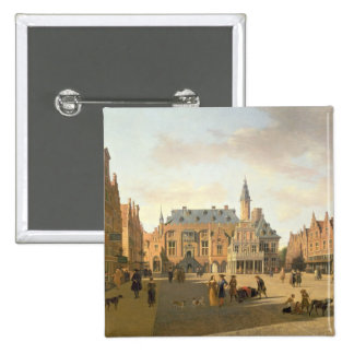 The Market Place with the Raadhuis 15 Cm Square Badge