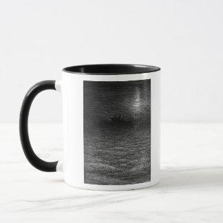 The marooned ship in a moonlit sea mug