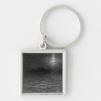 The marooned ship in a moonlit sea Silver-Colored square key ring