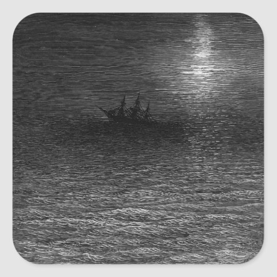 The marooned ship in a moonlit sea square sticker