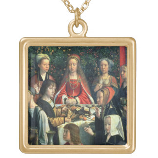 The Marriage at Cana, detail of the bride and surr Gold Plated Necklace