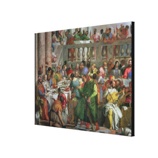 The Marriage Feast at Cana, detail of banqueting t Stretched Canvas Prints