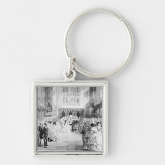 The Marriage of Victoria Silver-Colored Square Key Ring