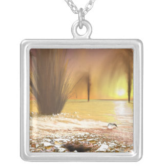 The Martian south polar ice cap Silver Plated Necklace