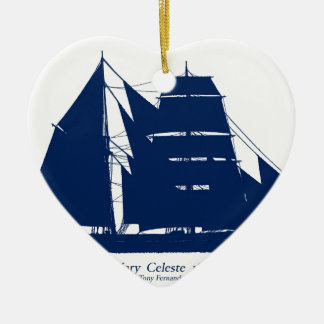 The Mary Celeste 1872 by tony fernandes Ceramic Heart Decoration