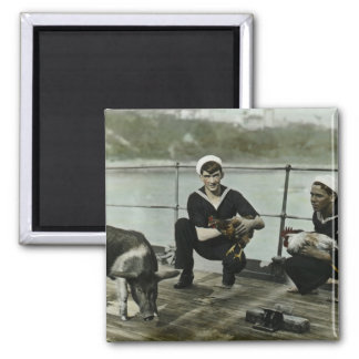 The Mascots Vintage WWII Sailor Rooster Pig Square Magnet