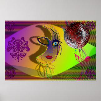 The Mask Mardi Gras Trompe l'oeil-V-1 Posters