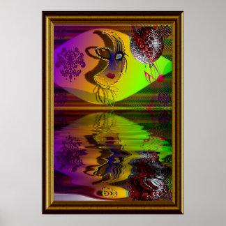 The Mask Mardi Gras Trompe l'oeil-V-2 W-Frame Print