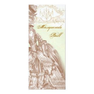 The Masquerade Ball,  Menu teal and gold 10 Cm X 24 Cm Invitation Card