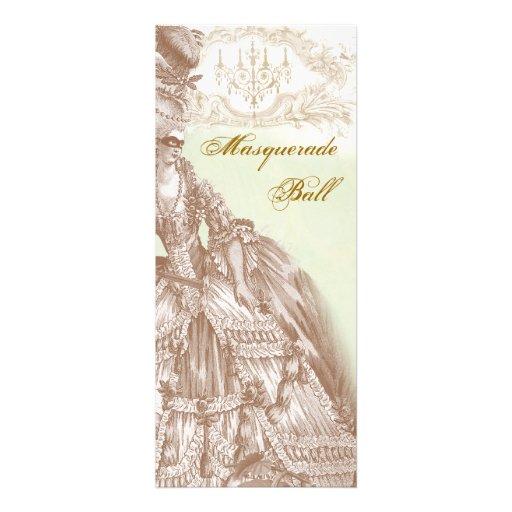 The Masquerade Ball,  Menu teal and gold Custom Invites