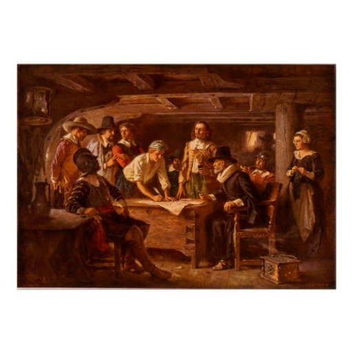 The Mayflower Compact by Jean Leon Gerome Ferris