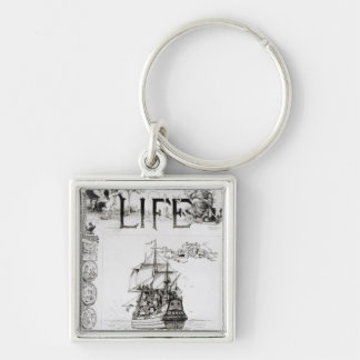 The Mayflower, front cover from 'Life' Silver-Colored Square Key Ring