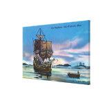 The Mayflower Landing in 1620 Scene Canvas Print