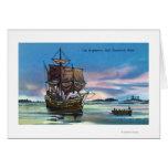 The Mayflower Landing in 1620 Scene Greeting Card