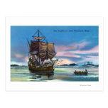 The Mayflower Landing in 1620 Scene Postcard