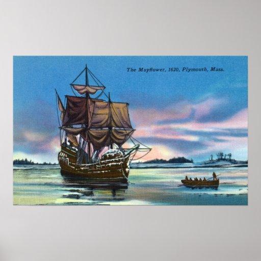 The Mayflower Landing in 1620 Scene Poster