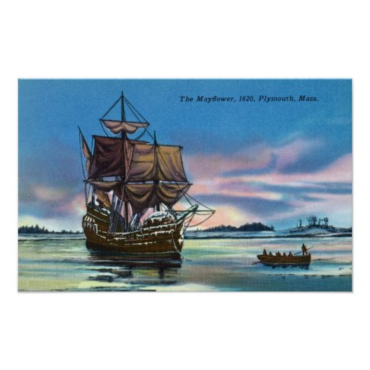 The Mayflower Landing in 1620 Scene Poster