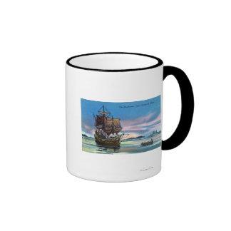 The Mayflower Landing in 1620 Scene Ringer Mug